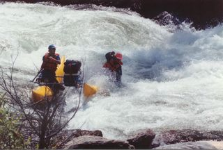 Our Wildcat ith a single Pozel Frame, Clavey Falls Tuolumne River.  Myself(Lee) and Leomard, a friend